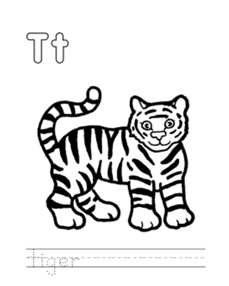 Wild Tiger Alphabet Coloring Page