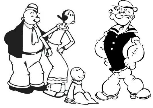 Wimpy Olive Sweet Pea And Popeye Coloring Page