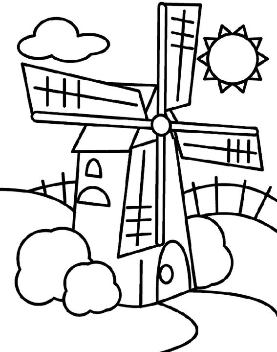 Windmill Coloring Wind Turbines Coloring Picture