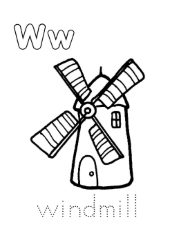 Windmill Free Alphabet Coloring Pages