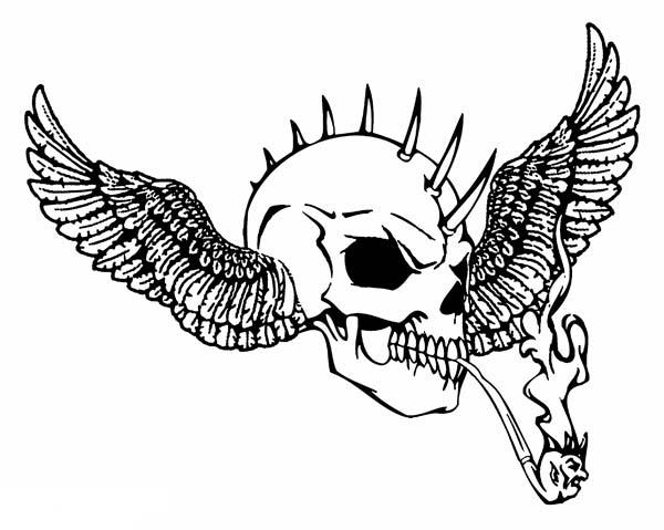 Winged Skull Coloring Pages