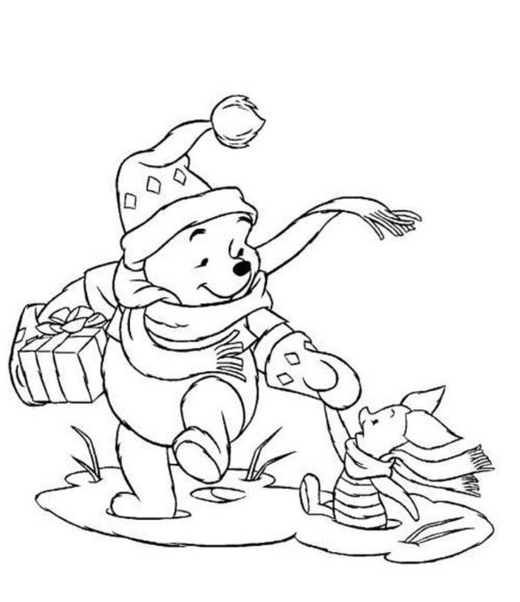 Winnie And Piglet Christmas Coloring Pages Printable