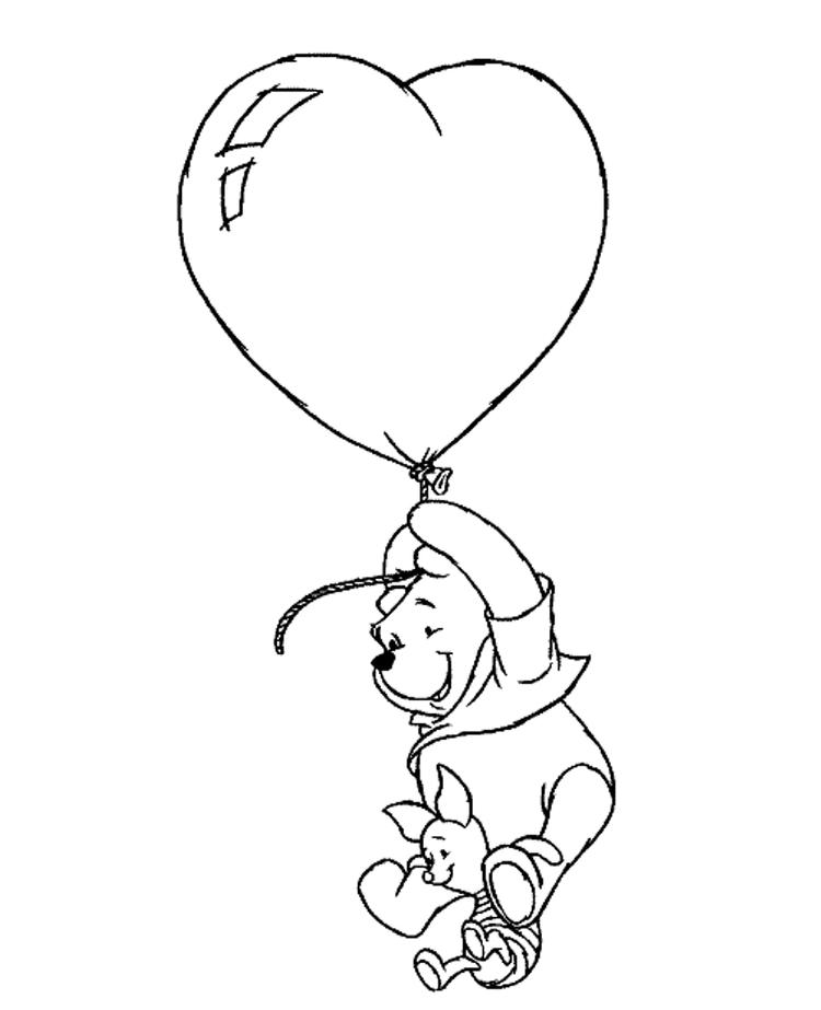 Winnie And Piglet Flying With Heart Balloon Valentine Coloring Page