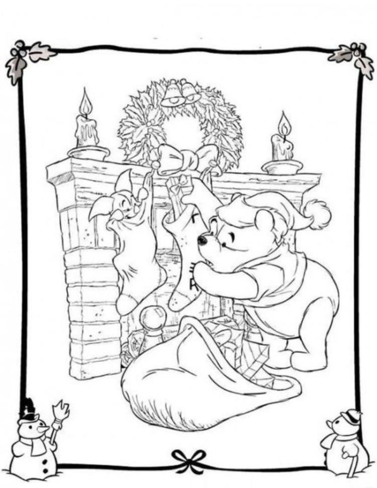 Winnie And Piglet Free Coloring Pages For Christmas