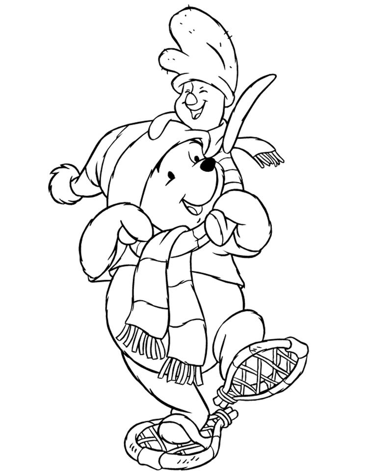 Winnie And Piglet Free Winter Coloring Pages