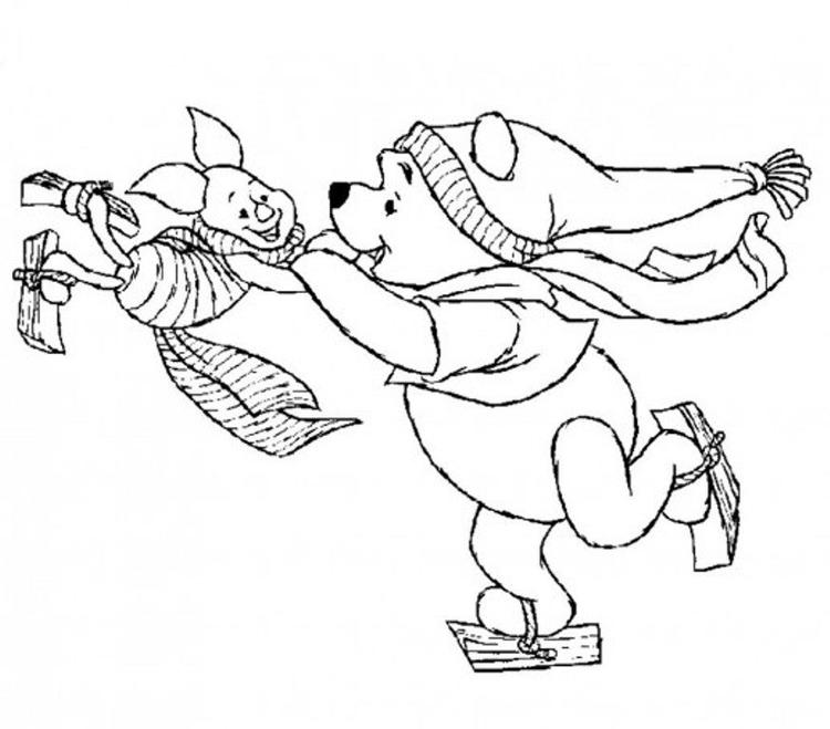 Winnie And Piglet Playing Ice Skating Winter Coloring Pages For Kids