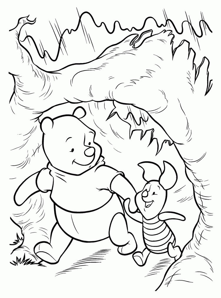 Winnie And Piglet Winter Coloring Pages Printables