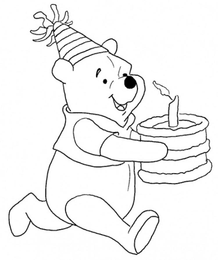 Winnie Bring The Cake Free Birthday Coloring Pages