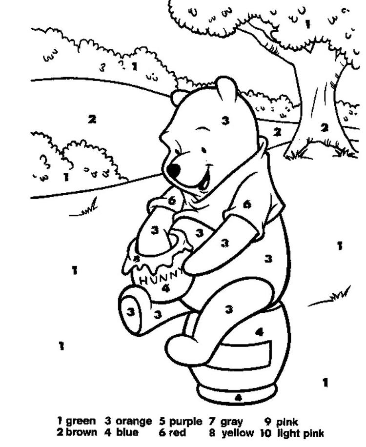 Winnie Disney Color By Number Pages