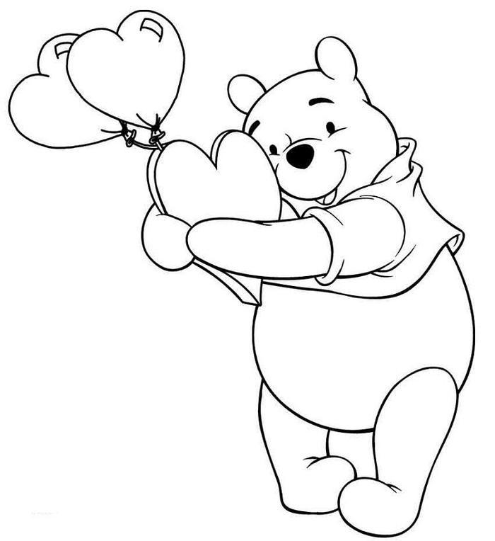 Winnie The Pooh And Hearts Coloring Pages
