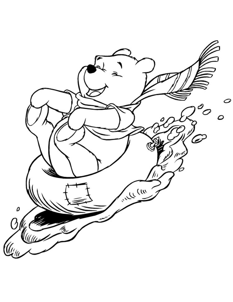 Winnie The Pooh Coloring Pages Sledding In Winter