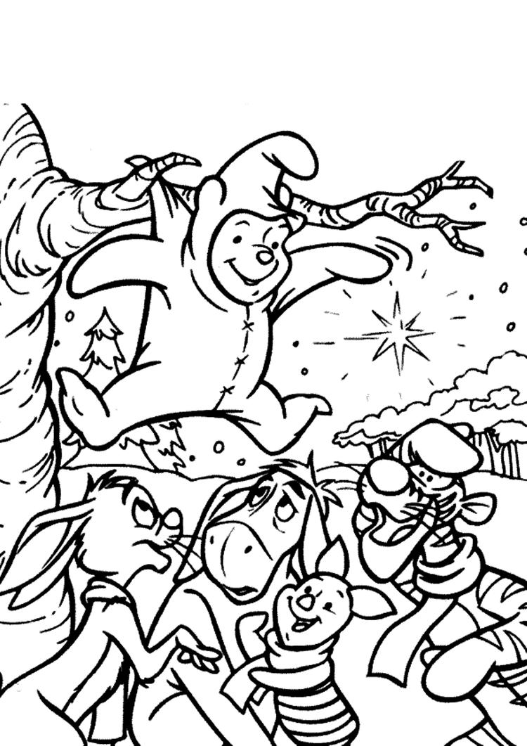 Winnie The Pooh Coloring Pages Stuck In The Tree