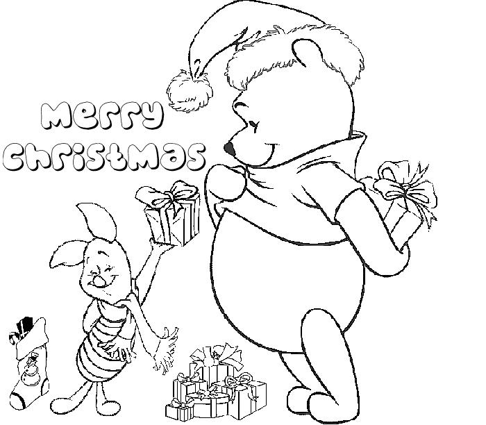 Winnie The Pooh Disney Merry Christmas Coloring Page