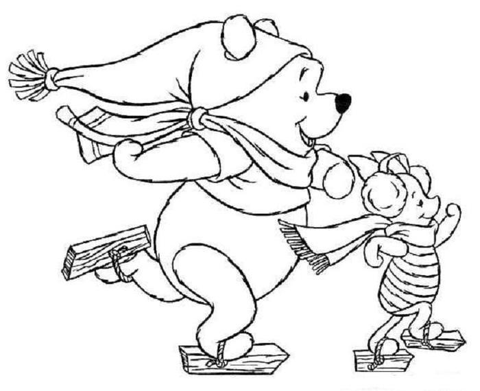 Winnie The Pooh In Winter Coloring Pages