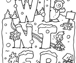 Winter Coloring Activity Worksheet