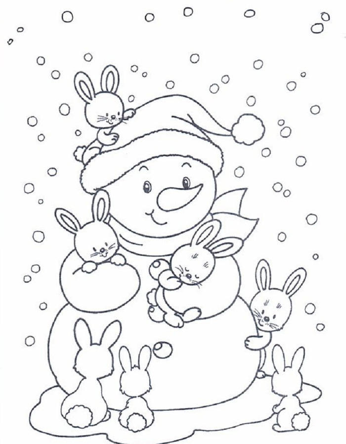 Winter Bunny Coloring Pages