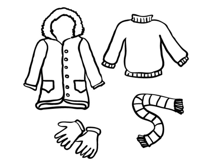 Winter Clothes Coloring Pages Free