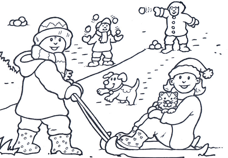 Winter Coloring Page Happiness