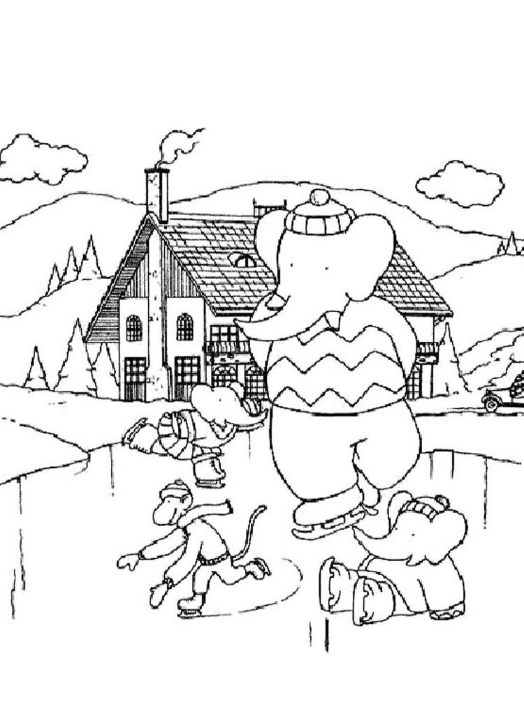 Winter Coloring Pages Babar Play Ice Skating