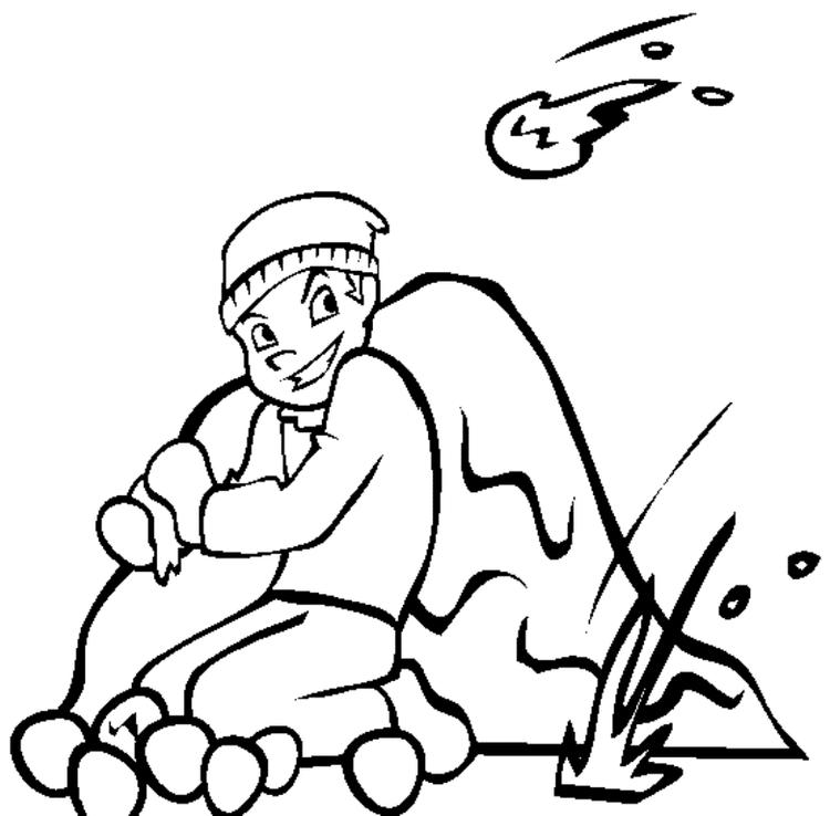 Winter Coloring Pages For Kids Snowball Fight