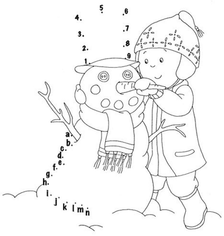 Winter Coloring Pages Making Snowman