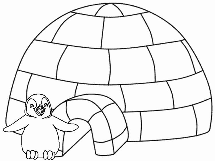 Winter Coloring Pages Penguin Igloo