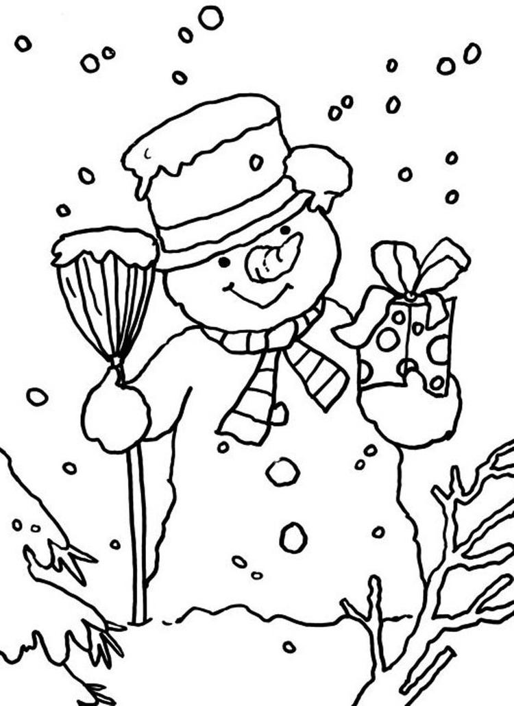 Winter Coloring Pages Printable Snowman