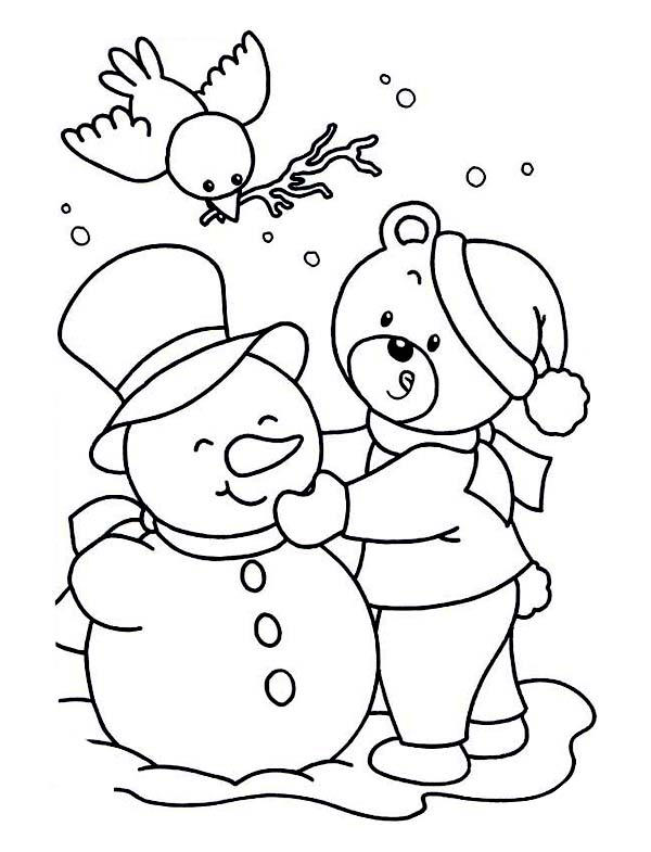 Winter Coloring Pages Teddy Bear Snowman