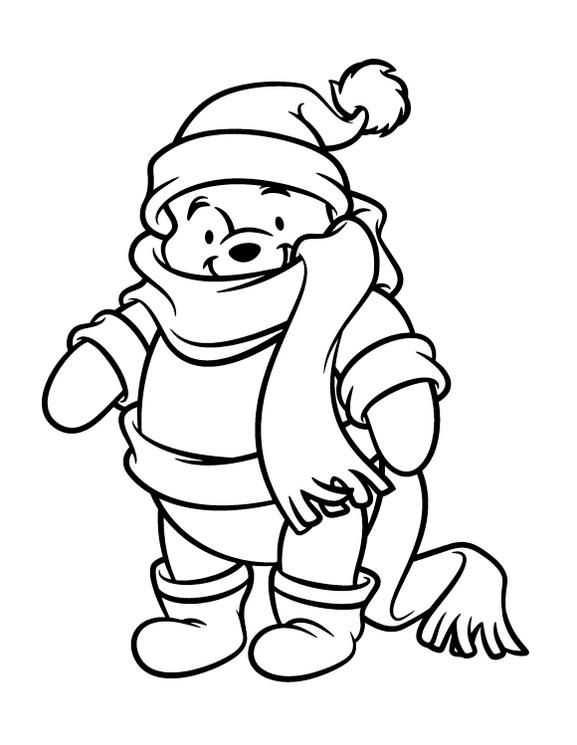 Winter Hat Weared By The Pooh Coloring Picture