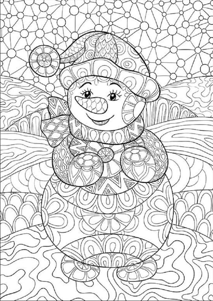 Winter mosaic coloring pages