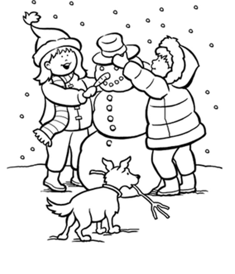Winter Snow Coloring Pages Kids Making Snowman