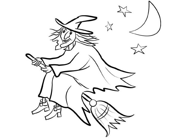 Witch Coloring Pages Flying On Broomstick