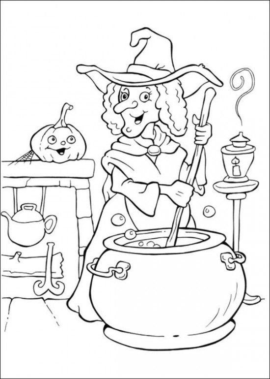 Witch Coloring Pages Making A Potion