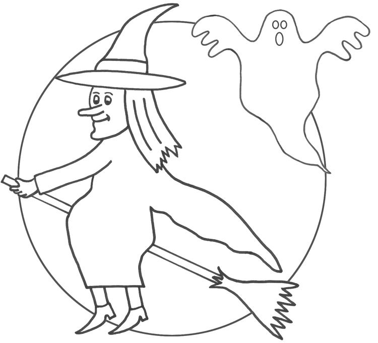 Witch Coloring Pages Moon And Ghost