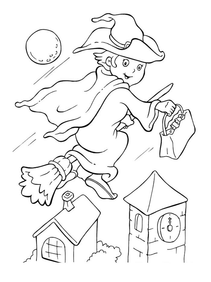 Witch Flying Halloween Coloring Pages Printable Free