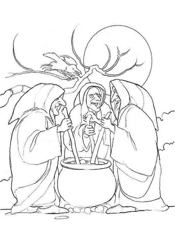 Witch Group Cooking Pot Coloring Sheet For Halloween Activity