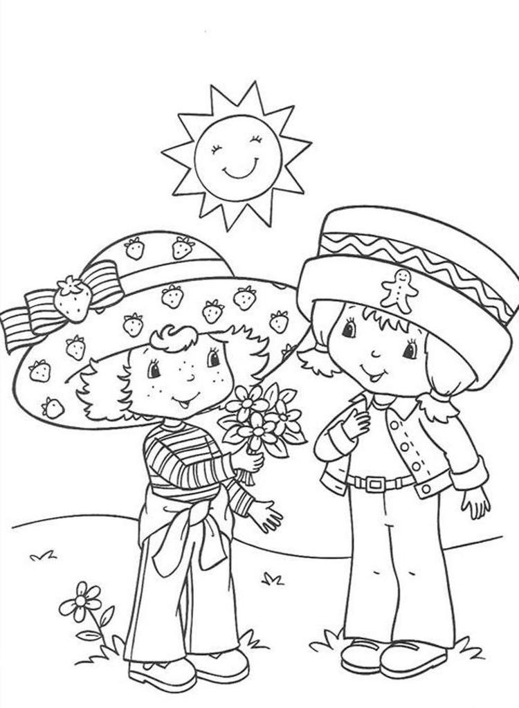 With Friend Strawberry Shortcake Coloring Page