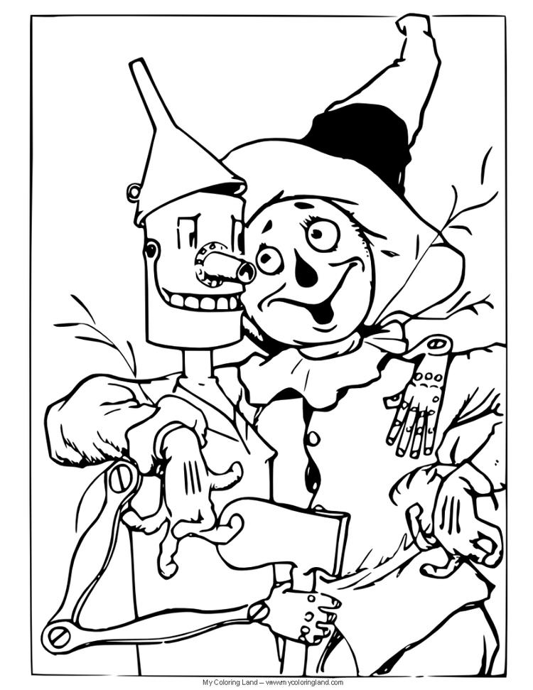 Wizard Of Oz Coloring Pages Tin Man And Scarecrow