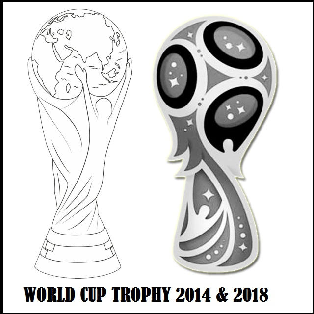 Wolrd Cup Trophy 2014 And 2018 Coloring Page