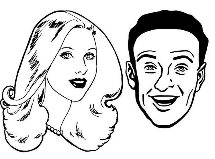 Woman And Man Face Coloring Page