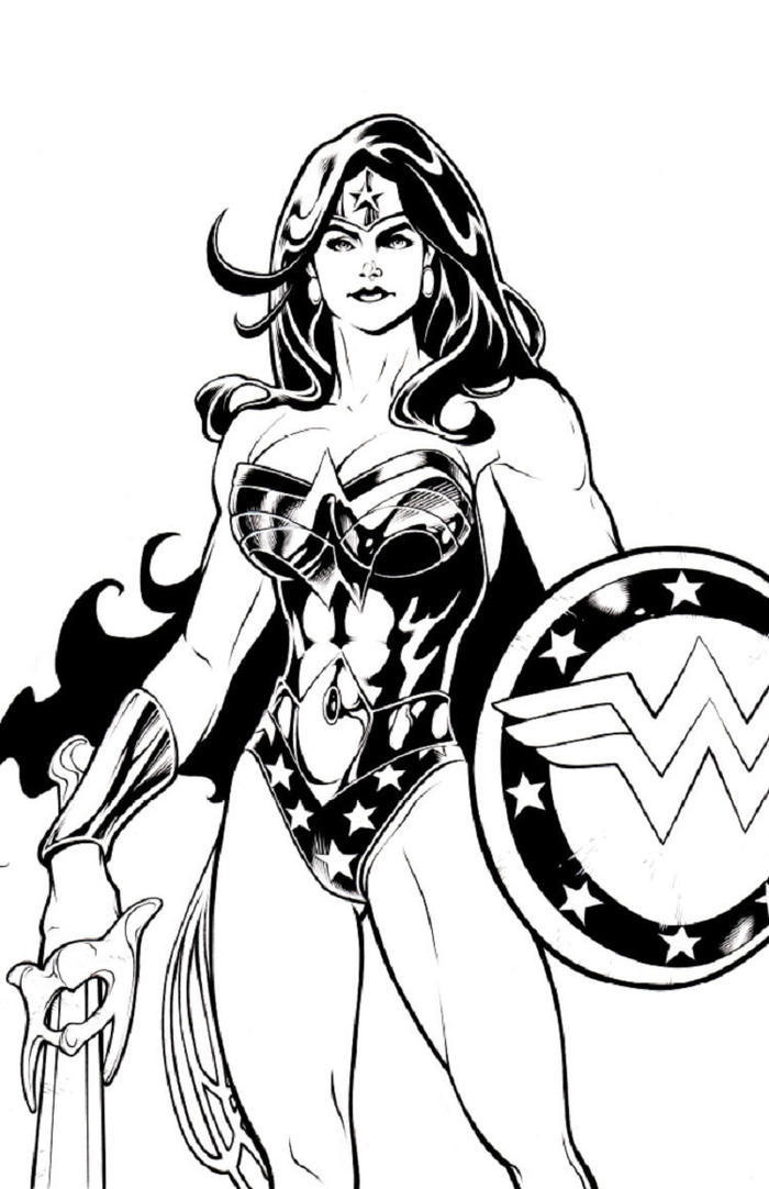 Wonder Woman And Shield Coloring Pages