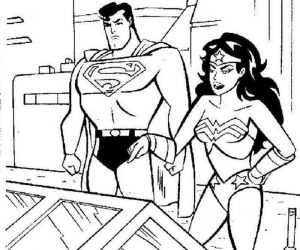 Wonder woman and superman coloring pages