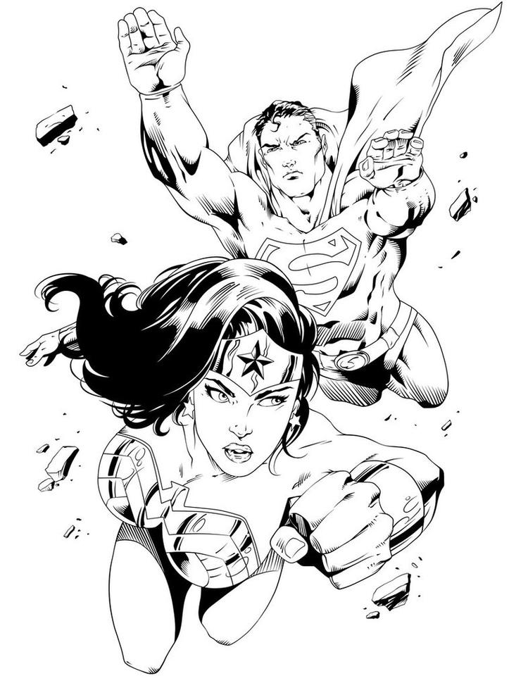 Wonder Woman Coloring Pages With Superman