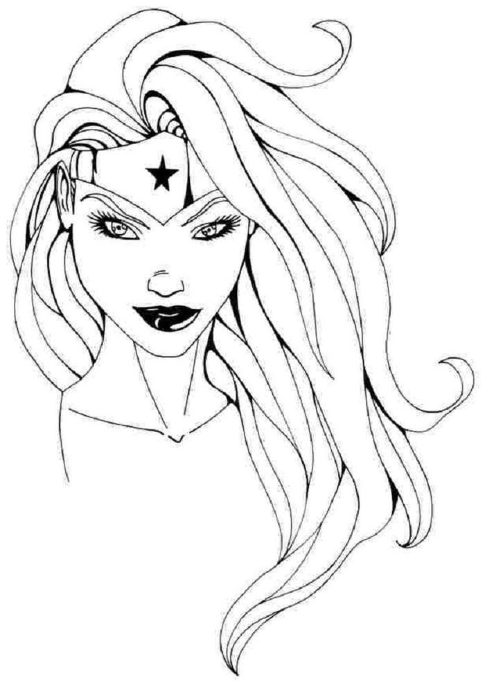 Wonder Woman Head Coloring Pages