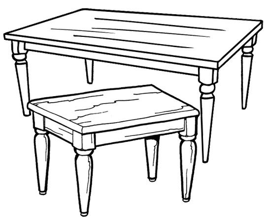 Wooden Table Coloring Page