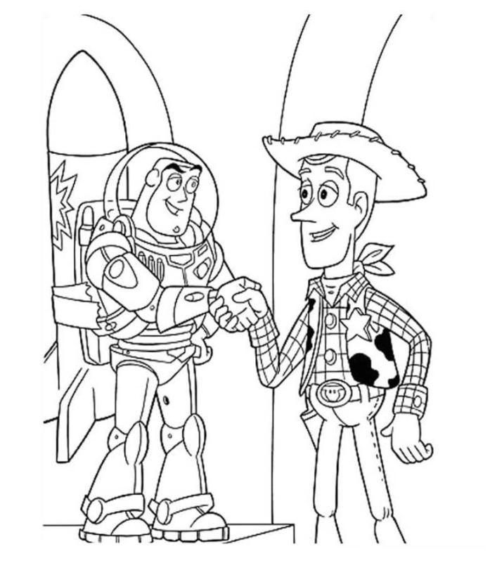 Woody And Buzz Handshake Toy Story Coloring Page