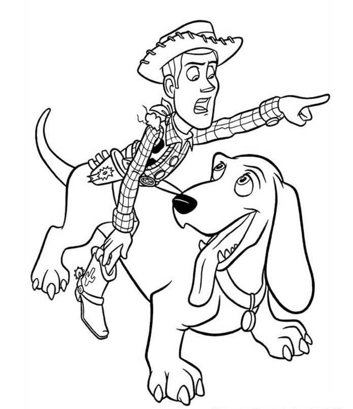 Woody Riding Dog Toy Story 2 Coloring Page