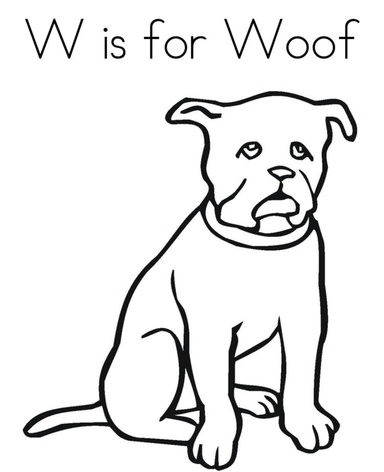 Woof Free Alphabet Coloring Pages
