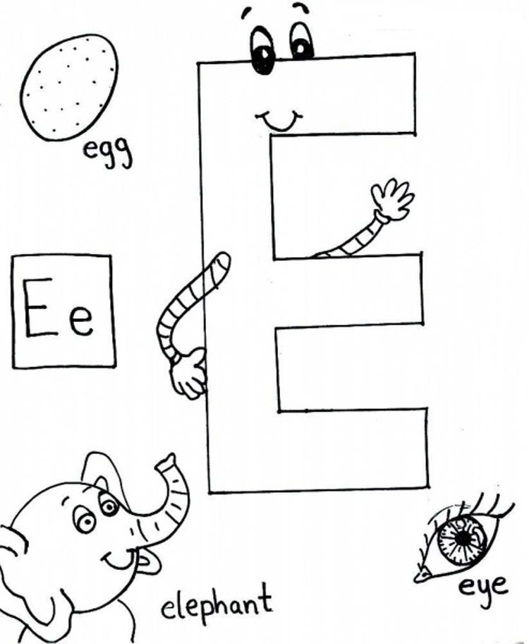 Words For E Alphabet Coloring Pages Free Coloring Ideas