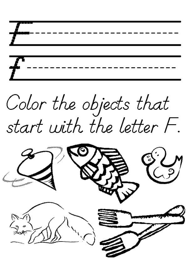 Words For Letter F Coloring Page